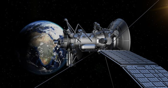 An artist's rendition of a satellite orbiting the Earth.