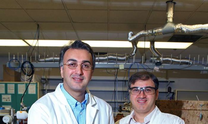 Amin Salehi-Khojin, UIC assistant professor of mechanical and industrial engineering (left), and postdoctoral researcher Mohammad Asadi with their breakthrough solar cell that converts atmospheric carbon dioxide directly into syngas. Credit: University of Illinois at Chicago/Jenny Fontaine  Read more at: https://phys.org/news/2016-07-breakthrough-solar-cell-captures-carbon.html#jCp