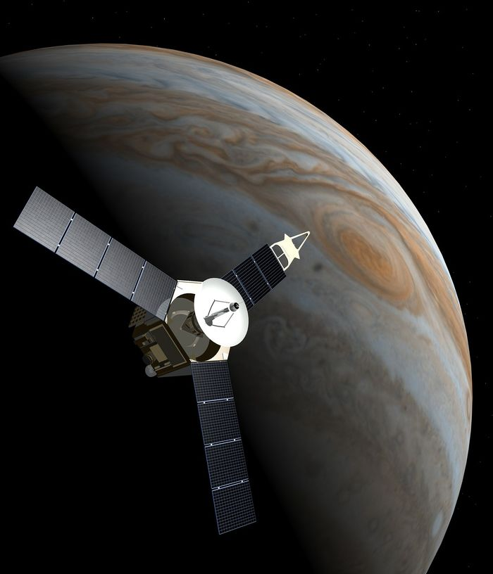 An artist's impression of the Juno spacecraft as it orbits Jupiter.