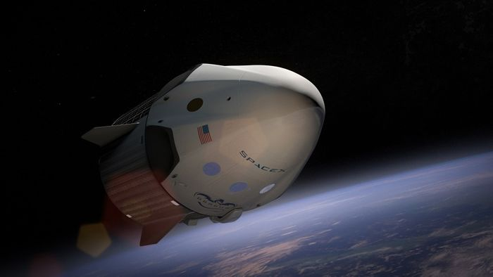 An artist's rendition of a SpaceX capsule floating in space above the Earth.