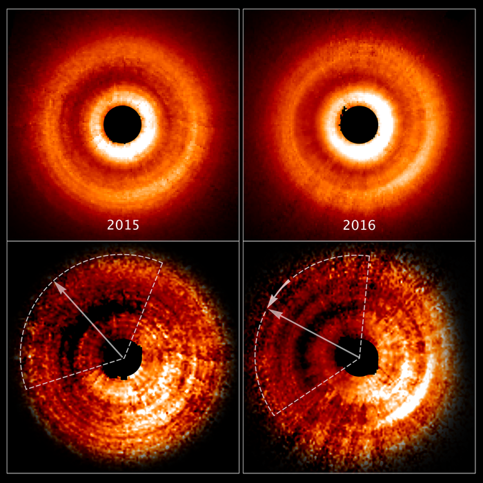 Hubble's direct images show the distortion of the gas disk thanks to the unseen planet.