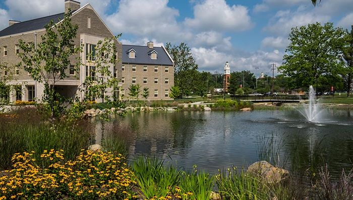 Stormwater retention ponds can be beautiful as well as functional. Photo: miamioh.edu